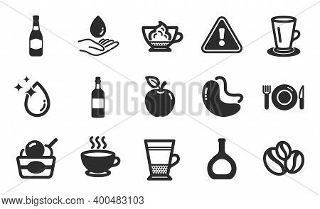 Water Care, Cashew Nut And Apple Icons Simple Set. Food, Ice Cream And Brandy Bottle Signs. Coffee C