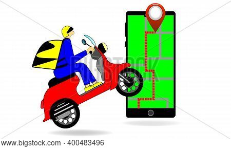 A Food Delivery On A Red Scooter On The Navigator In The Phone Vector Illustration In The New Year H