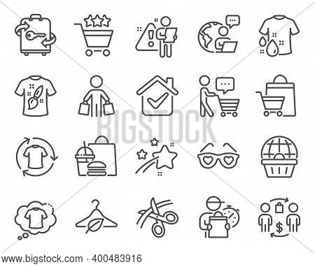 Fashion Icons Set. Included Icon As T-shirt Design, Buyer Think, Wash T-shirt Signs. Buyer, Change C