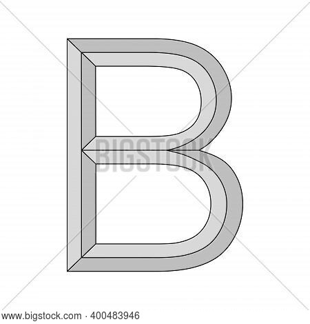 Logo Three-dimensional Letter B, Vector Capital Second Letter Alphabet B Symbol Privacy And Origin