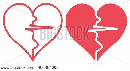 Two Halves Of The Heart Separated By The Pulse Sign, Vector Pulse Heart Symbol Of Health And Sport H