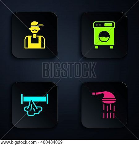 Set Shower, Plumber, Broken Pipe And Washer. Black Square Button. Vector