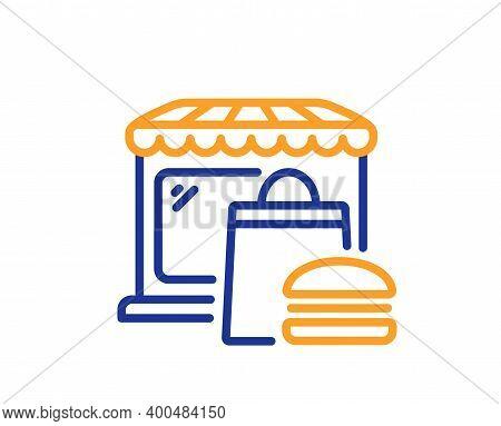 Food Market Line Icon. Fast Food Restaurant Sign. Retail Marketplace Symbol. Quality Design Element.