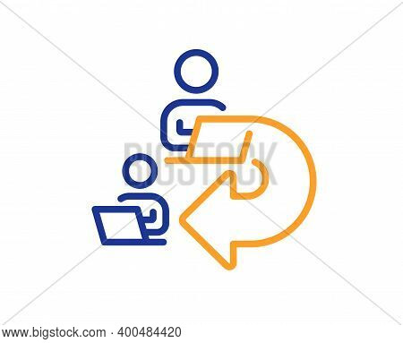 Delegate Work Line Icon. Teamwork Share Sign. Remote Office Symbol. Quality Design Element. Line Sty