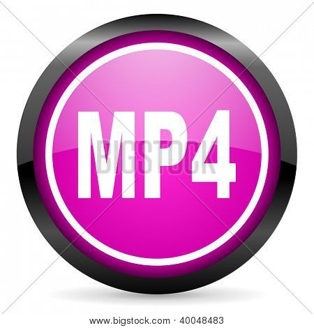 mp4 violet glossy icon on white background