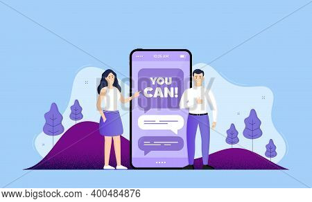 You Can Motivation Message. Phone Online Chatting Banner. Motivational Slogan. Inspiration Phrase. Y