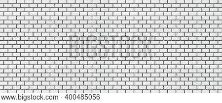 Light White Brick Wall. Background From Evenly Laid Bricks. Template For Text And Design. Frosty Tex