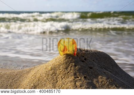 Amber On A Sandy Beach. One Piece Of Transparent Mineral Sunstone Against The Background Of The Sea