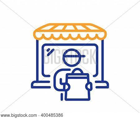 Delivery Market Line Icon. Store Courier Sign. Retail Marketplace Symbol. Quality Design Element. Li
