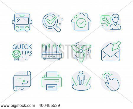 Technology Icons Set. Included Icon As House Security, Repairman, Wind Energy Signs. Quick Tips, Pri