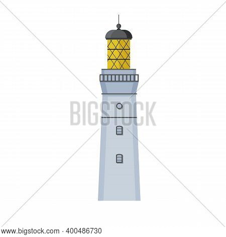 Detailed Realistic Light Beacon. Lighthouse In Flat Design. Search Tower With A Searchlight Beam For