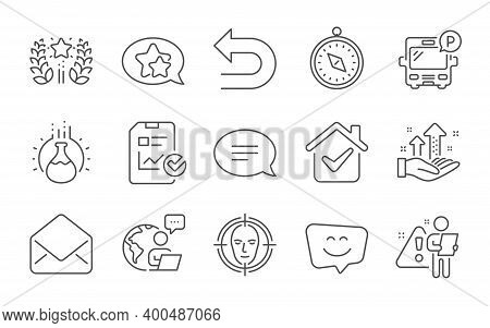 Chemistry Experiment, Mail And Ranking Line Icons Set. Face Detect, Chat And Analysis Graph Signs. S