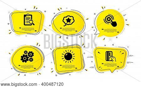 Cogwheel Settings, Cogwheel And Sun Energy Icons Simple Set. Yellow Speech Bubbles With Dotwork Effe