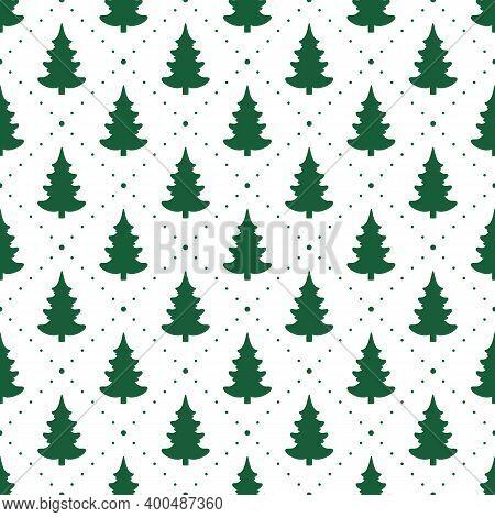 Seamless Vector. Fir-tree Background. Xmas Illustration. New Year Wallpaper. Christmas Tree Motif. H