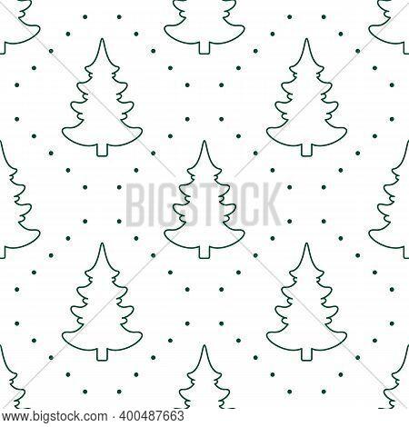Seamless Vector. Fir-tree Background. New Year Motif. Christmas Tree Ornament. Holidays Wallpaper. W