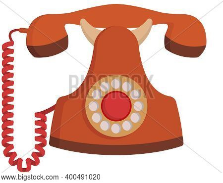 Rotary Dial Home Telephone. Outdated Equipment In Cartoon Style.
