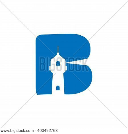 Letter B Lighthouse Logo Vector Image. Lighthouse With Letter B In Negative Space Design Logo Vector
