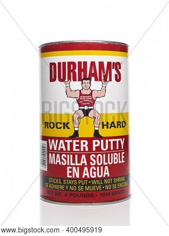 IRVINE, CALIFORNIA - 21 DEC 2020: A can of Durhams Rock Hard Water Putty.