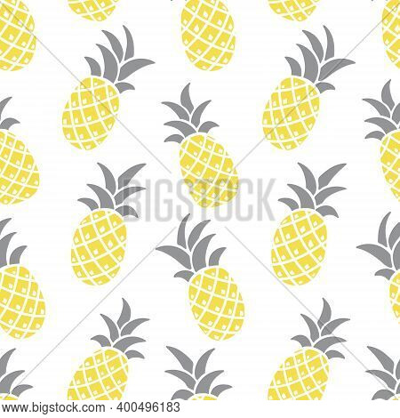 Pineapple Seamless Vector Gray-yellow Pattern, Colors 2021. Stylized Pineapples On A White Backgroun