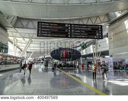 Turkey, Ankara - October 24, 2019: International Terminal In Ankara Esenboga Airport. Information Di