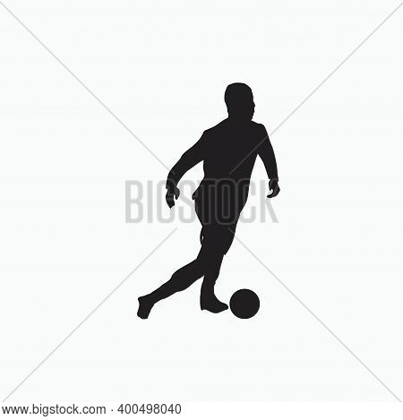Smooth Dribbling In Soccer - Silhouette Flat Illustration - Shot, Dribble, Celebration And Move In S