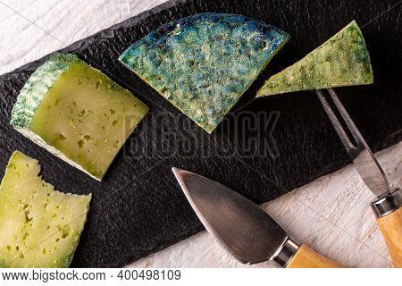 Craft Cheese Green Pesto Cheese Pesto Rosso. Food Recipe Background. Close Up.
