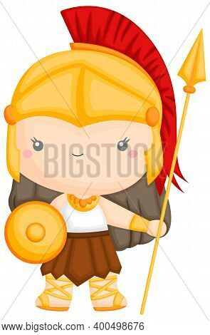 A Vector Of The Goddess Athena With Armor