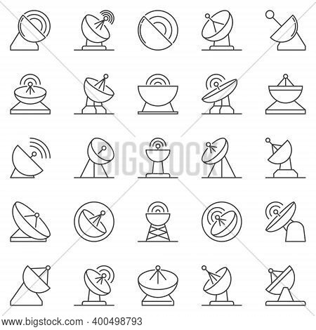 Parabolic Antenna Outline Icons Set. Satellite Dish Antenna Vector Concept Signs Or Design Elements