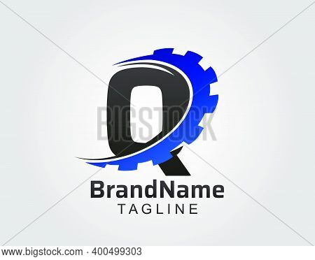 Abstract Q Letter, Q Gear Swoosh Logo.