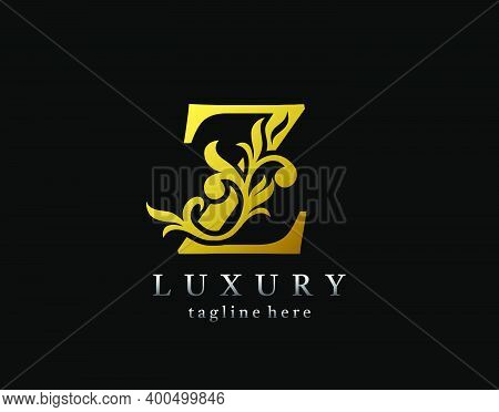 Letter Z Luxury Logo Icon, Luxury Gold Flourishes Ornament Monogram Design Vector.