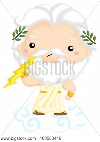 A Vector Of Zeus Holding His Lighting Bolt