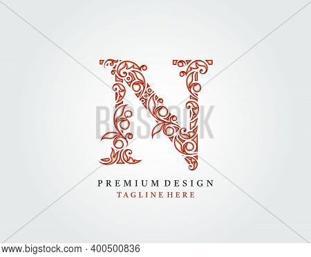 Letter N Luxury Logo Icon, Elegant Flourishes Ornament Monogram Design Vector.