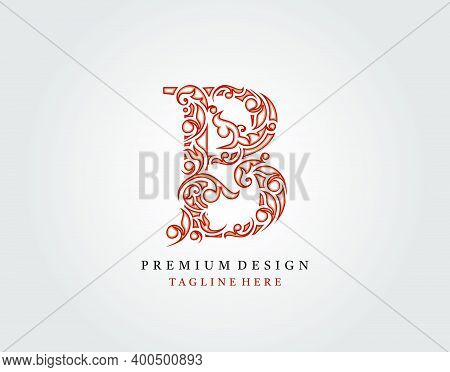 Letter B Luxury Logo Icon, Elegant Flourishes Ornament Monogram Design Vector.