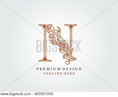 Luxury Initial N Letter Logo Icon, Elegant Floral Ornament Monogram Design Vector.