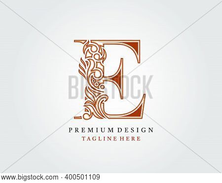 Luxury Initial E Letter Logo Icon, Elegant Floral Ornament Monogram Design Vector.