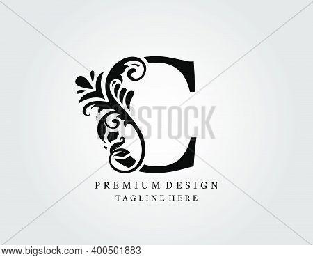 Luxury Monogram Letter C Logo Design, Elegant Floral Ornate Alphabet Design Vector.