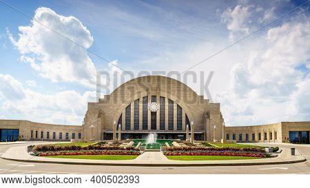 Cincinnati, Ohio, August 29, 2020: Historic Cincinnati Union Terminal building housing the Cincinnati Museum Center that includes three museums, a library and a theater