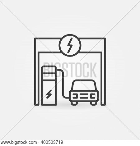 Car Charging At Electric Recharging Point Vector Concept Icon Or Symbol In Thin Line Style