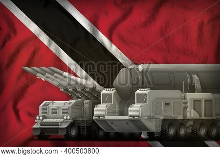 Rocket Forces On The Trinidad And Tobago Flag Background. Trinidad And Tobago Rocket Forces Concept.