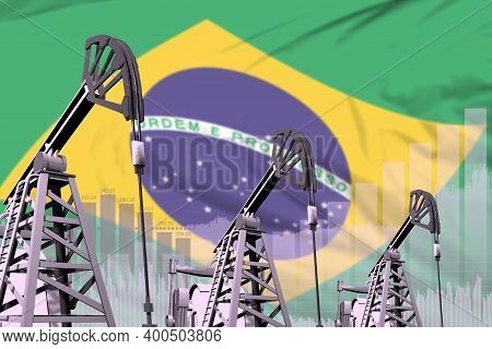 Brazil Oil And Petrol Industry Concept, Industrial Illustration On Brazil Flag Background. 3d Illust