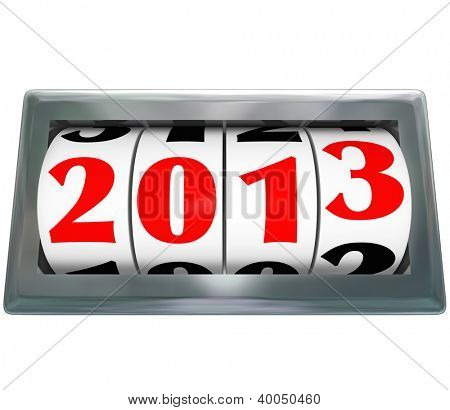 An odometer reading 2013 ticking down to new year to represent change and new models and designs