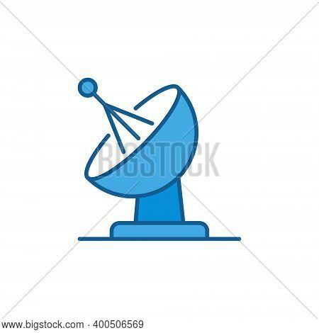 Satellite Antenna Dish Vector Concept Blue Icon Or Design Element