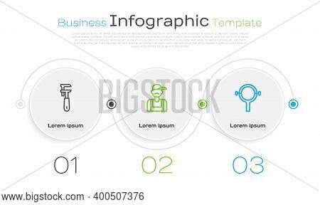 Set Line Pipe Adjustable Wrench, Plumber And Filter. Business Infographic Template. Vector