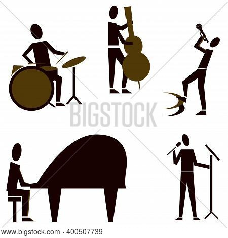 Jazz Band. Set Of Jazz Band People Playing Diverse Music Instruments And Singer. Icon Set. Isolated
