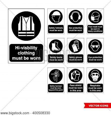 Mandatory Signs Icon Set Of Black And White Types. Isolated Vector Sign Symbols. Icon Pack.