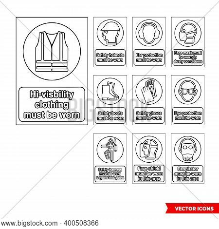 Mandatory Signs Icon Set Of Outline Types. Isolated Vector Sign Symbols. Icon Pack.