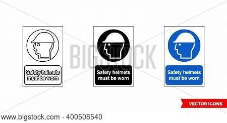 Mandatory Signs Safety Helmets Must Be Worn Icon Of 3 Types Color, Black And White, Outline. Isolate