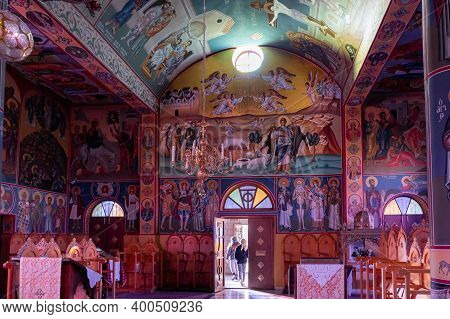 Bethlehem, Israel, December 09, 2020 : The Interior Of The Orthodox Church In Honor Of The Cathedral