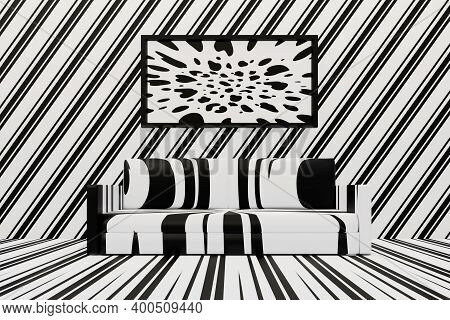 Rorschach Spots Apartment Design. Psychologists Office. Minimalist Black-and-white Living Room With