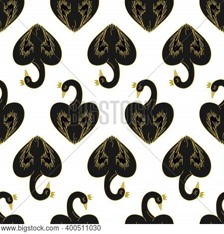 Vector Seamless Pattern With Black Swans In The Shape Of A Heart On A White Background. Swans Have G